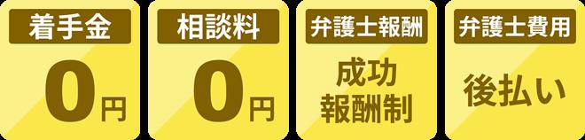 着手金:0円/相談料:0円/弁護士報酬:成功報酬制/弁護士費用:後払い